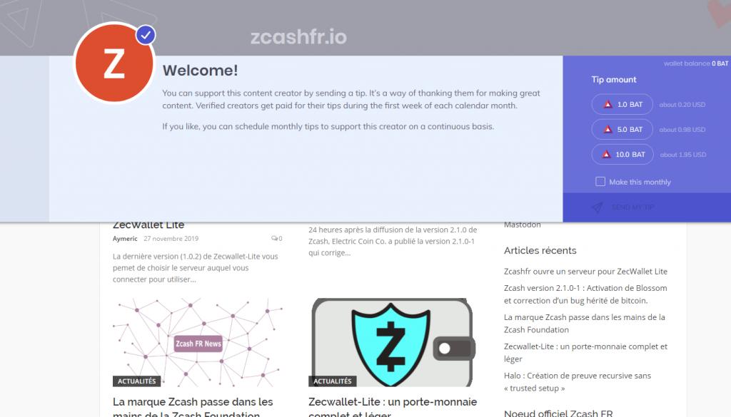 Zcash FR Brave Creator