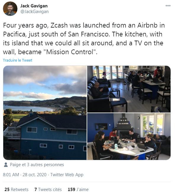 Fil Twitter de Jack Gavigan à propos de lancement de Zcash
